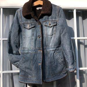 😎Marvin Richards denim jacket lined Faux Fur